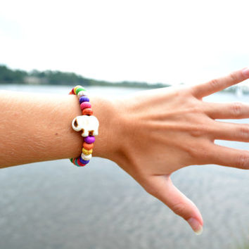 Colorful Elephant Stretchy Beaded Bracelet Bohemian Elephant Arm Candy Boho Colorful Beaded Bracelet Hippie Arm Beaded Elastic Bracelet