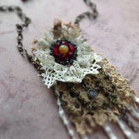 Bohemian textile lace necklace / cotton lace, Czech glass, oxidized brass