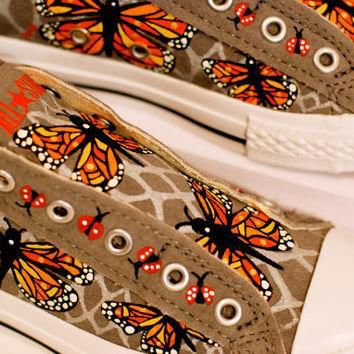 Hand-Painted Converse Sneaker With Monarch Butterfly & Lady Bug Design