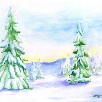 Snowy Trees Watercolor