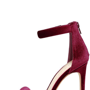 Everyday Celebration Wine Velvet Ankle Strap Heels