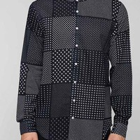 The Narrows Patchwork Print Mandarin Collar Button-Down Shirt - Navy