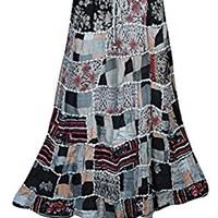 Mogulinterior Womens Patchwork Skirts Flowy Vintage Gujarati Ethnic Printed Long Skirts