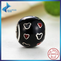 925 Sterling Silver Mickey & Red Heart Charm Fit Bracelet & Necklace Black and Red Enamel Ball Jewelry Making