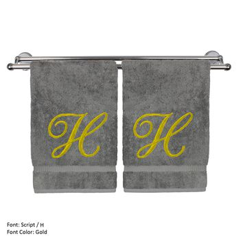 Monogrammed Hand Towel, Personalized Gift, 16 x 30 Inches - Set of 2 - Gold Embroidered Towel - Extra Absorbent 100% Turkish Cotton - Soft Terry Finish - For Bathroom, Kitchen and Spa - Script H Gray