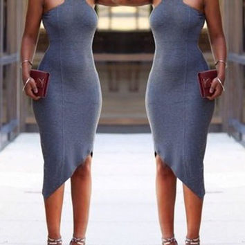 Gray Strappy Midi Dress