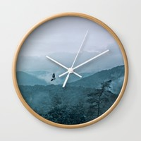 Blue smoky mountains Wall Clock by Pirmin Nohr