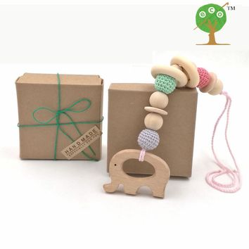 Teething toy w gift box Pastel color baby teether with beech Elephant Pendant Crochet beads nursing toy new-born baby gift ET01