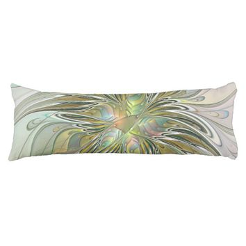 Floral Fantasy Modern Fractal Art Flower With Gold Body Pillow