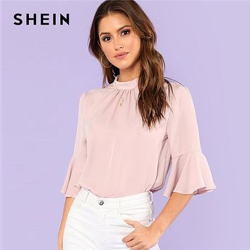 SHEIN Pleated Detail Keyhole Back Flounce Sleeve Top Summer Half Sleeve Stand Collar Blouse Women Ruffle Elegant Blouse
