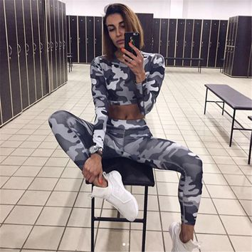 PENERAN Jogging Suit Women Fitness Sport Suit Camouflage Gym Woman Sportswear Sport Outfit Workout Clothes 2018 Autumn Tracksuit
