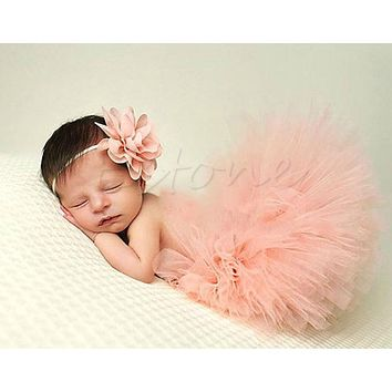 Cute Toddler Newborn Baby Girl Tutu Skirt & Headband Photo Prop Costume Outfit -P101
