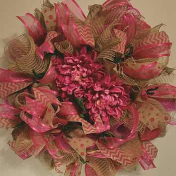 Spring deco mesh wreath with large dahlias. Polka dots, stripes, chevron and sheer ribbons. Burlap and mesh door wreath.