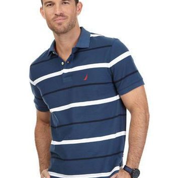 Nautica Performance Stripe Deck Polo Shirt