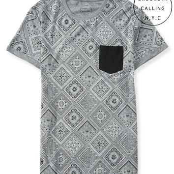 Brooklyn Calling Bandana Print Pocket Tee