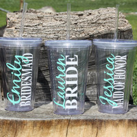 Listing for 4 Personalized Bridal Party Acrylic Tumbler with Straws - BPA Free- Wedding Party Gifts, Bride, Bridesmaids, Flower Girls