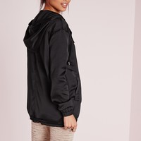 Missguided - Longline Satin Utility Jacket Black