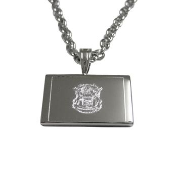 Silver Toned Etched Michigan State Flag Pendant Necklace