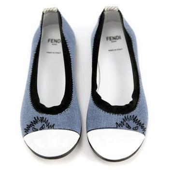 Fendi Girls Denim Ballet Flats