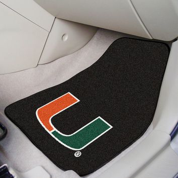 University of Miami Hurricanes Car Mats Set - 2-Pc Carpeted Universal Fit