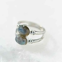 Double Moonstone Ring- Silver