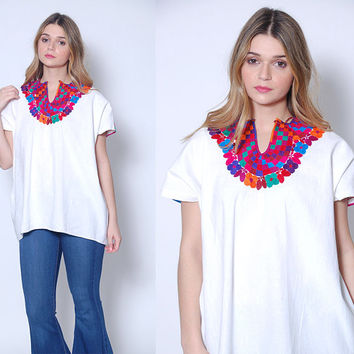 Vintage 70s EMBROIDERED Mexican Blouse Hippie Tunic White COTTON Ethnic Top Boho Blouse FESTIVAL Top