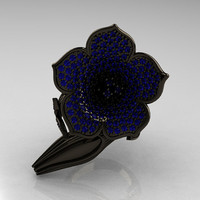 Designer Exclusive 14K Black Gold Blue Sapphire Duchess Trumpet Flower and Vine Ring NN123-14KBGBS