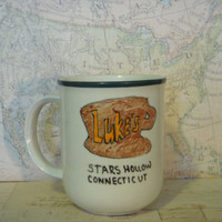 "Gilmore Girls Lukes Diner Stars Hollow Hand Painted Mug ""Hate early."""