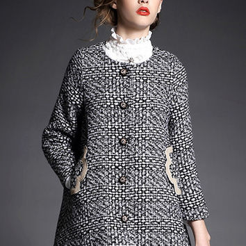 Multi-color Side Pockets Woolen Coat