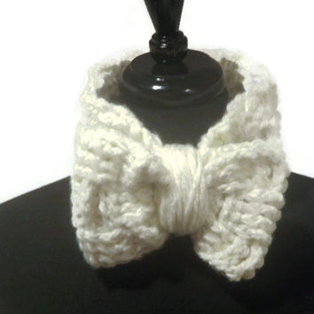 Chunky bow crochet headband, crochet ear muff, ear cuff with bow