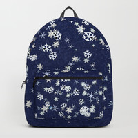 Snowflakes in space Backpack by anipani
