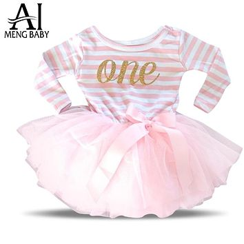 Girl Dress Stripe One Two Print Kids Dresses Newborn Toddler Girl Clothing