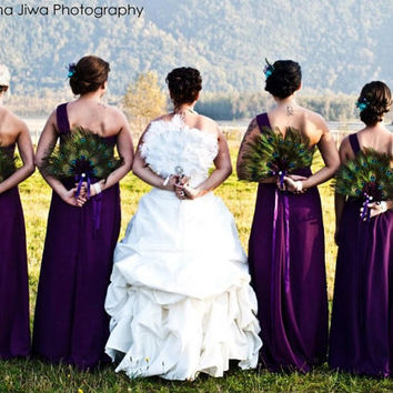 50 DEPOSIT for FOUR Peacock Feather Bridesmaid by Ivyndell on Etsy