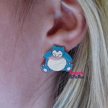 Snorlax pokemon clinging earrings Kawaii Geeky Gamer two part front and back earrings