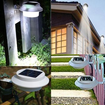 NEW IP4 Outdoor Lighting Solar lamp Powered 3 LED Wall Path Landscape Garden Fence Gutter Light Lamps without battery