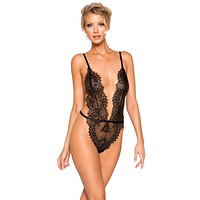 Sexy Sweet Surrender Open Back High Leg Eyelash Lace Teddy