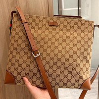 GUCCI New fashion more letter canvas shoulder bag crossbody bag Khaki