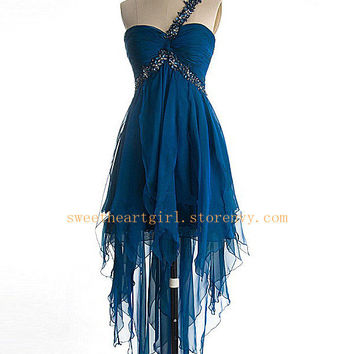 Beaded One shoulder Layered High-Low Prom Dress/Homecoming Dress