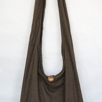 "YAAMSTORE ""basic brown"" sling  shoulder bag hippie hobo shopping travel carrying grocery school purse MEDIUM plain simple dark brown sb002"