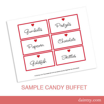 Valentine Candy Buffet Labels Printable Template - DIY Make Your Own Party Red Heart Label or Name Tag Template by daintzy