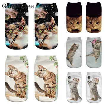 2018 New arrival sox 3D Printing Cat Socks Distinctive Cartoon Cat Meias Funny Fashion Unisex Low Ankle Hot Selling Animal Socks