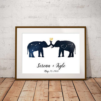 Custom Wedding Print, Zodiac Constellation Art, Elephants Print, Elephant Wedding Decor, Anniversary Gift, Wedding Sign, Astrology Art
