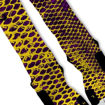 purple kobe lakers snake skin custom nike elite socks  number 1