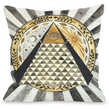 """All Seeing Eye Pyramid"" Indoor Throw Pillow by Ana Victoria Calderon, 16""x16"""