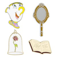 Disney Beauty and the Beast Pin Trading Flair Set Chip Enchanted Rose New