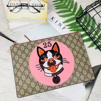 GUCCI NEW STYLE LEATHER EMBROIDERY ZIPPER HAND BAG