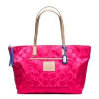 Coach :: Legacy Weekend Signature Nylon East/west Zip Top Tote