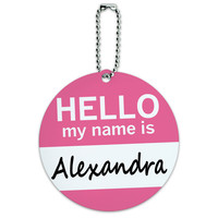 Alexandra Hello My Name Is Round ID Card Luggage Tag