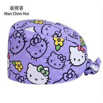 Women's Purple hello kitty Surgical Scrub Cap  Medical Work Hat for Dentist Doctors Cotton with Sweatband OR Scrub Hats