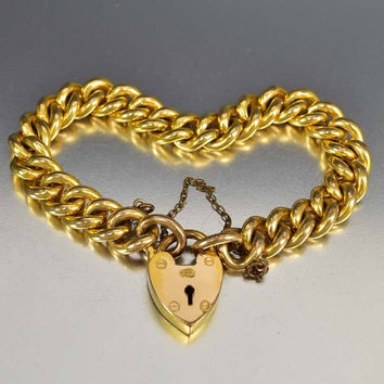 Antique Padlock Gold Curb Chain Victorian Bracelet